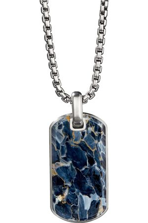 David Yurman Streamline' pietersite silver dog tag pendant