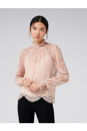 Forever New Azura Lace Shirred Neck Top
