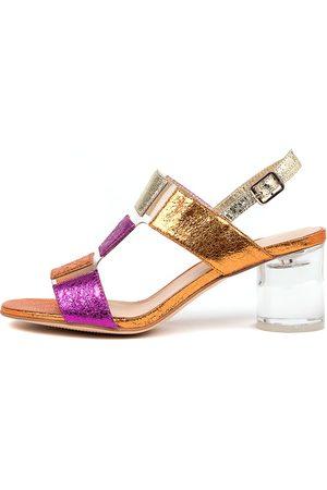 Django & Juliette Seymour Dj Fuchsia Multi Clear Sandals Womens Shoes Heeled Sandals