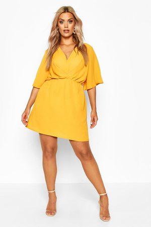 Boohoo Plus Angel Sleeve Smock Dress- Mustard
