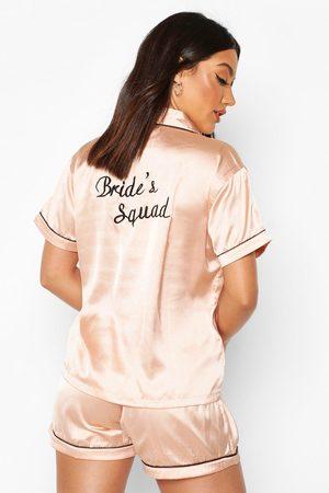 Boohoo Bride Squad Satin Embroidered Pj Short Set- Rose