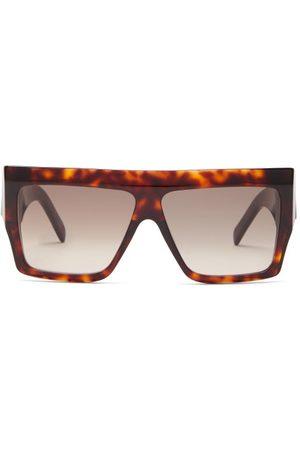 Céline Flat-top Acetate Sunglasses - Womens - Tortoiseshell