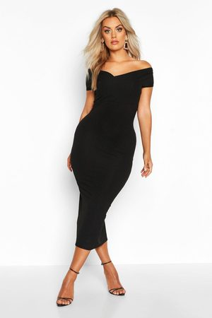 Boohoo Plus Jumbo Rib Bardot Midi Dress