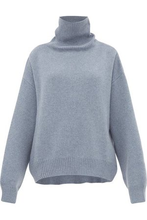 Raey Cropped Displaced-sleeve Roll-neck Wool Sweater - Womens