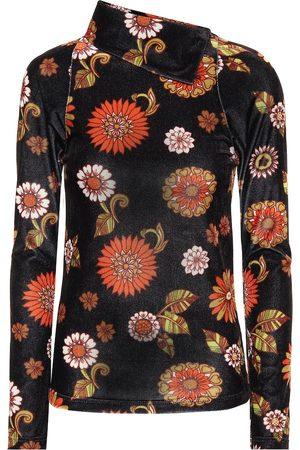 DODO BAR OR Floral velour turtleneck top