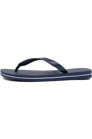 Havaianas Rubber Logo Hv Navy Sandals Mens Shoes Casual Sandals Flat Sandals