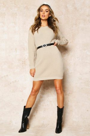 Boohoo Crew Neck Sweater Dress- Stone