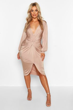 Boohoo Plus Twist Front Plunge Midi Dress- Stone