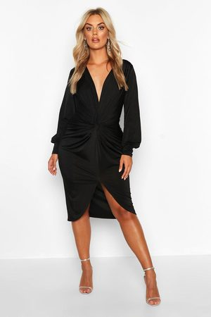 Boohoo Plus Twist Front Plunge Midi Dress