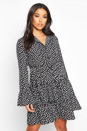 Boohoo Maternity Polka Dot Smock Shirt Dress