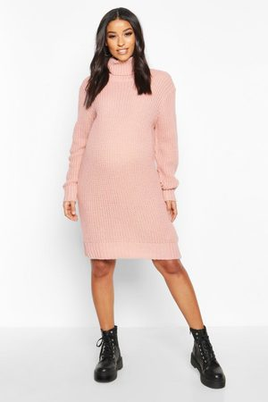 Boohoo Maternity Roll Neck Sweater Dress- Pale
